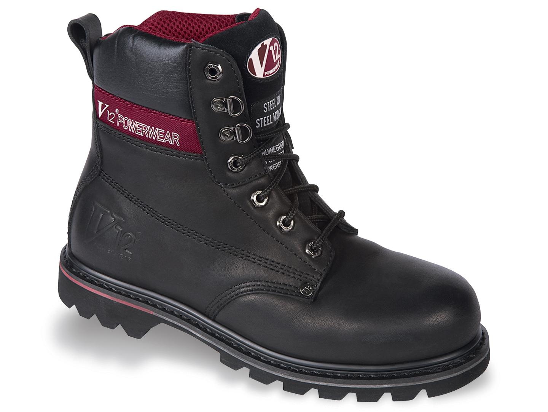 V12 Footwear Boulder V1235 Black Hide Derby Boots